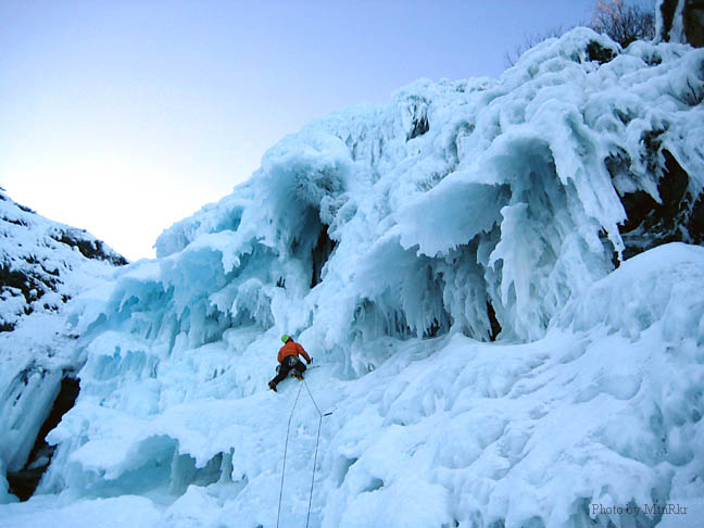 Climbing the wild ice on 'Medusa', Wi4, on the Gaspe' Peninsula, Canada. (Photo by MtnRkr)