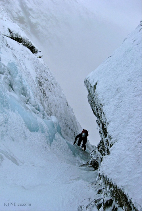Mike Garity on an icy Pinnacle Gully, Huntington Ravine, Mt. Washington NH - Alan Cattabriga